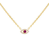 Magenta CZ Colored Evil Eye Necklace - Adina's Jewels