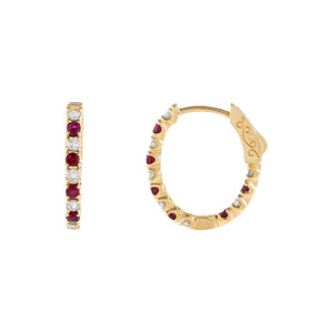 14K Gold Diamond X Ruby Oval Huggie Earring 14K - Adina's Jewels