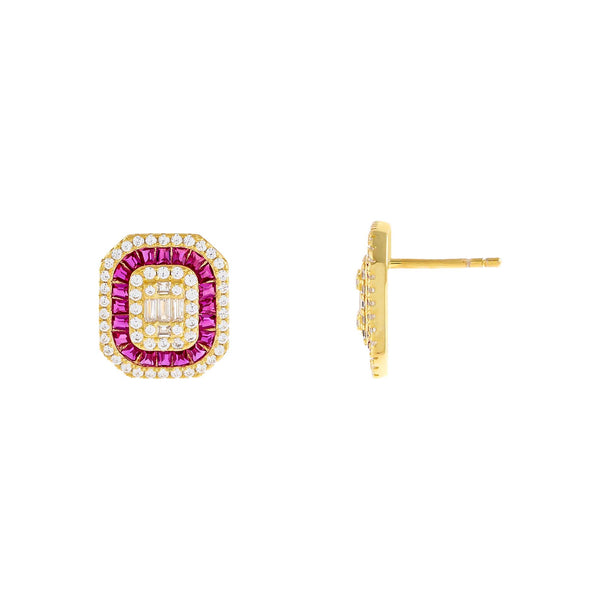 Magenta CZ Colored Illusion Stud Earring - Adina's Jewels