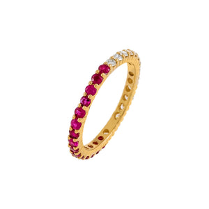 Magenta / 8 Diamond X Ruby Band 14K - Adina's Jewels