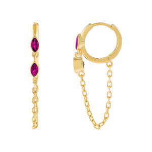 Magenta CZ Colored Evil Eye Chain Huggie Earring - Adina's Jewels
