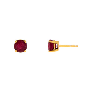 Ruby Solitaire Stud Earring 14K