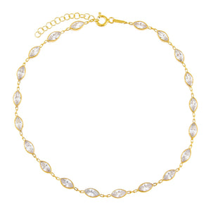 Gold CZ Multi Marquise Anklet - Adina's Jewels