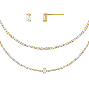 Gold CZ Marquise Tennis Combo Set - Adina's Jewels