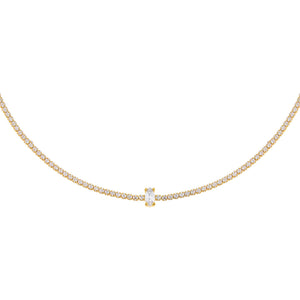 Gold CZ Marquise Tennis Choker - Adina's Jewels
