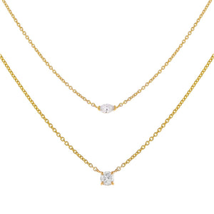 14K Gold The Double Diamond Combo Set 14K - Adina's Jewels