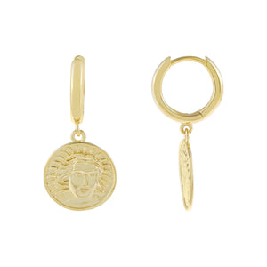 Gold Vintage Mini Coin Huggie Earring - Adina's Jewels