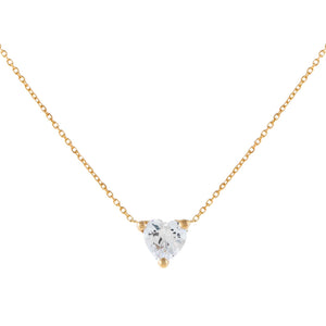 14K Gold CZ Mini Heart Necklace 14K - Adina's Jewels