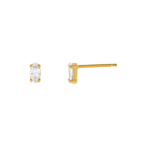 Gold Tiny Marquise Stud Earring - Adina's Jewels