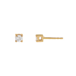 14K Gold / Pair Diamond Tiny Stud Earring 14K - Adina's Jewels