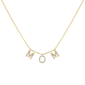Gold Pavé Mom Necklace - Adina's Jewels