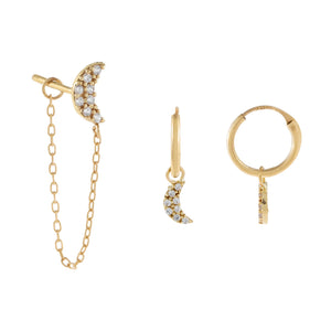 14K Gold CZ Crescent Earring Combo Set 14K - Adina's Jewels