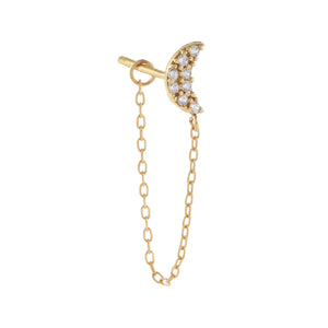 14K Gold / Single CZ Crescent Chain Stud Earring 14K - Adina's Jewels