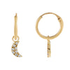 14K Gold CZ Moon Hoop Earring 14K - Adina's Jewels
