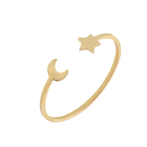 14K Gold / 7 Dainty Star X Moon Ring 14K - Adina's Jewels