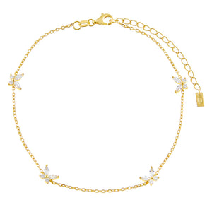 Gold CZ Crystal Multi Butterfly Anklet - Adina's Jewels