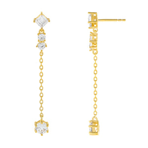 Gold CZ Multi Shape Chain Drop Earring - Adina's Jewels