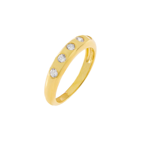 Gold / 6 CZ Multi Stone Dome Ring - Adina's Jewels
