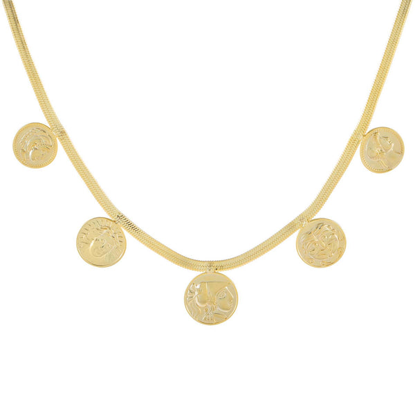 Gold 5 Coin Herringbone Necklace - Adina's Jewels