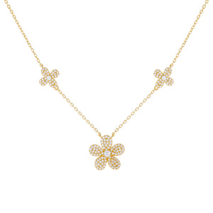 Gold Pavé Triple Flower Necklace - Adina's Jewels