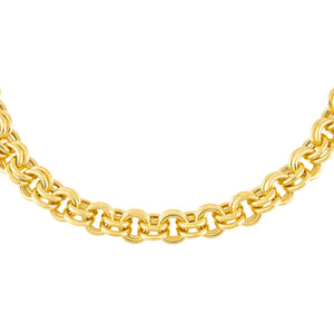 Gold Hollow Rounded Rolo Chain Choker - Adina's Jewels