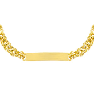 Gold Hollow Rounded Rolo Bar Chain Choker - Adina's Jewels