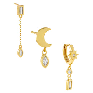 Gold CZ Multi Stone Celestial Earring Combo Set - Adina's Jewels