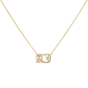 Gold Pavé Gothic Double Initial Necklace - Adina's Jewels