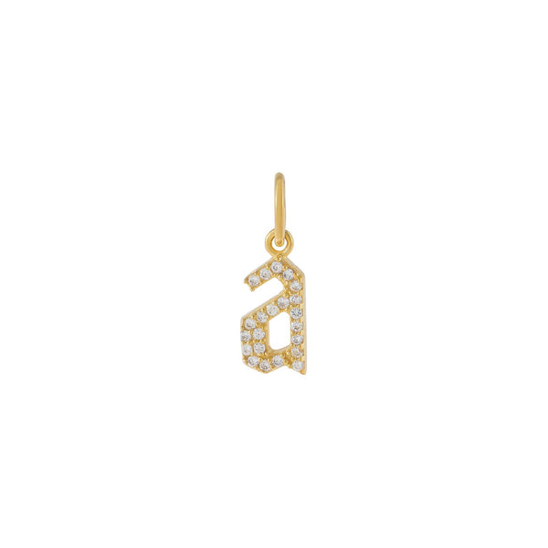 Gold Pavé Gothic Lowercase Initial Charm - Adina's Jewels