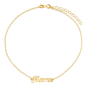 Gold Gothic Mama Nameplate Anklet - Adina's Jewels