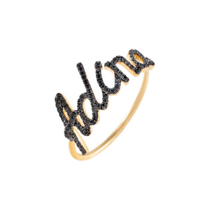 Onyx / 5 / 2-3 Diamond Onyx Script Name Ring 14K - Adina's Jewels