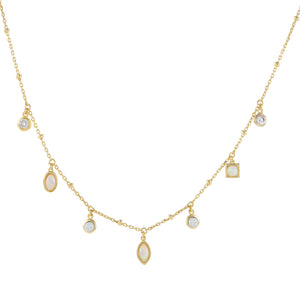 Opal CZ X Opal Charms Necklace - Adina's Jewels