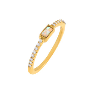 Gold / 6 CZ Opal Baguette Ring - Adina's Jewels