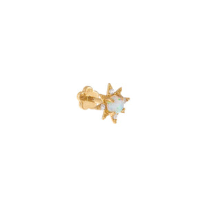 Opal / Single CZ Opal Starburst Threaded Stud Earring 14K - Adina's Jewels