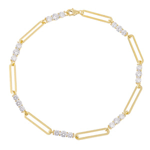 Gold CZ Paperclip Anklet - Adina's Jewels