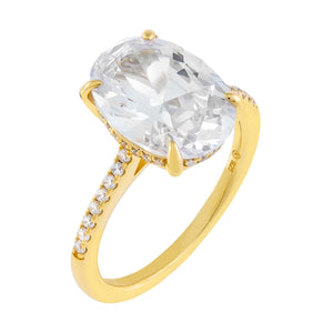 Gold / 5 Pavé Oval Travel Ring - Adina's Jewels