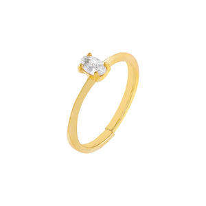Gold CZ Oval Stone Ring - Adina's Jewels