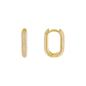 Gold Large Pavé Oval Huggie Earring - Adina's Jewels