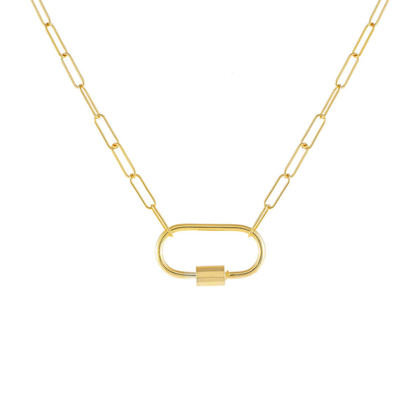 Gold Large Toggle Oval Link Necklace - Adina's Jewels