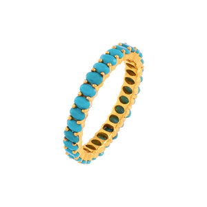 Turquoise / 6 Turquoise Oval Beaded Ring - Adina's Jewels
