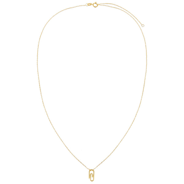 Mini Solid Paperclip Necklace 14K - Adina's Jewels
