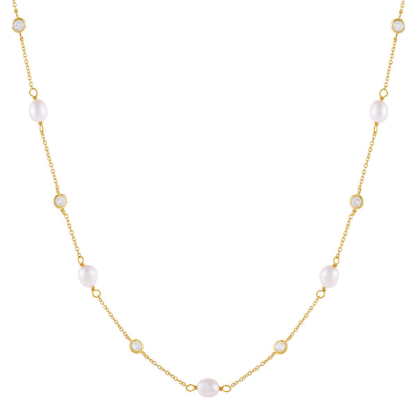 Pearl White CZ Bezel X Pearl Necklace - Adina's Jewels