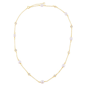 CZ Bezel X Pearl Necklace - Adina's Jewels