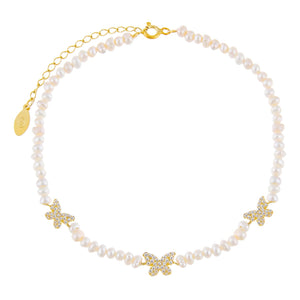 Pearl White CZ Butterfly Pearl Anklet - Adina's Jewels