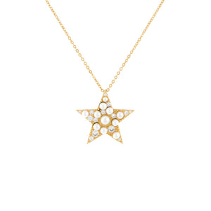 Pearl White CZ Pearl Star Necklace - Adina's Jewels