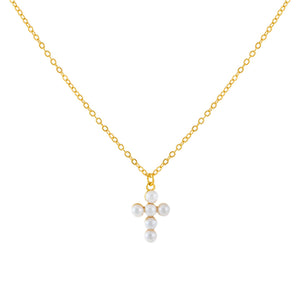 Pearl White Pearl Cross Necklace - Adina's Jewels