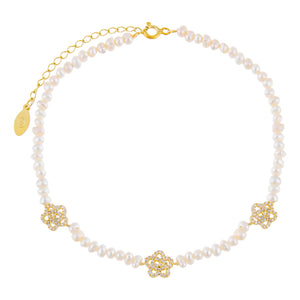Pearl White CZ Rose Pearl Anklet - Adina's Jewels