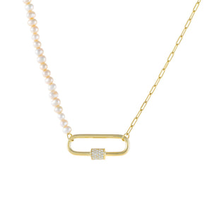 Pearl White Pearl X Link Toggle Necklace - Adina's Jewels