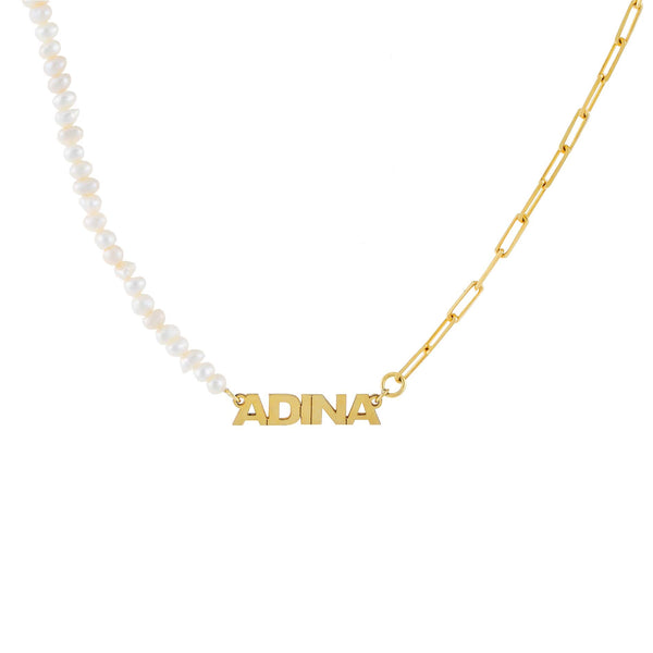 Pearl White Pearl X Link Mini Nameplate Necklace - Adina's Jewels