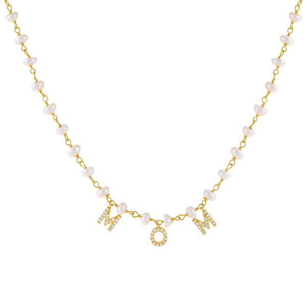 Pearl White CZ Mom Pearl Necklace - Adina's Jewels